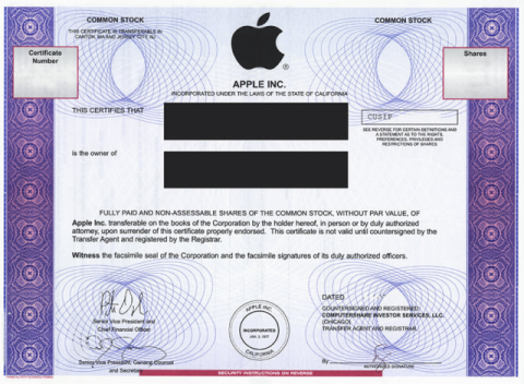 Apple részvénytanúsítvány (apple, részvény, )