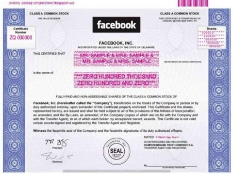 Facebook részvénybizonylat (facebook, részvény, )