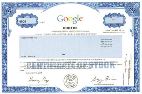Google részvénytanúsítvány (google, részvény, )