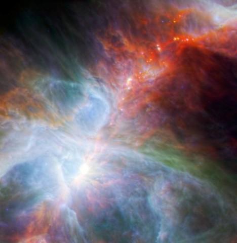 Orion-köd (orion-köd, herschel, spitzer, )