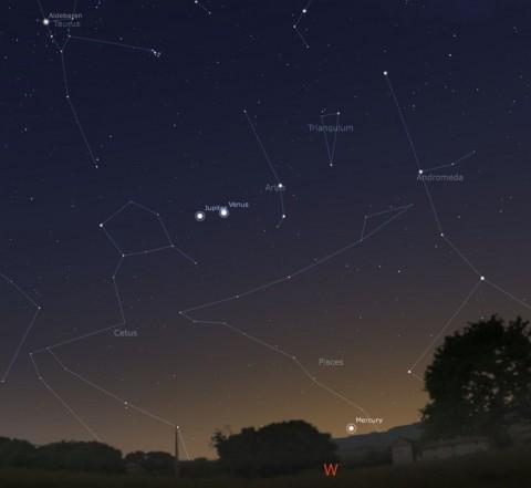 Vénusz és Jupiter 2012márc12én (vénusz, jupiter, együttállás, )