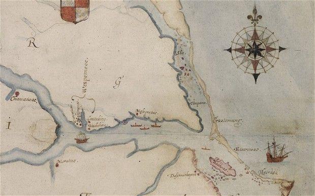 Roanoke elveszett kolónia (roanoke, térkép, )