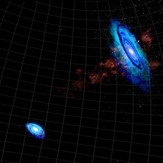 Gázhíd két galaxis közt (androméda-galaxis, triangulum-galaxis, androméda, triangulum, gázhíd, )