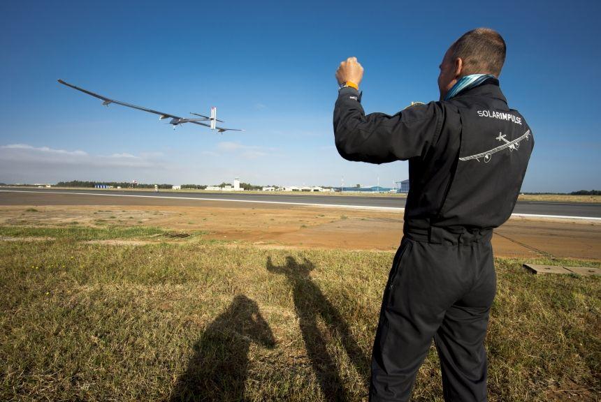 Solar Impulse - felszállás Rabatban (solar impulse, repülőgép, )