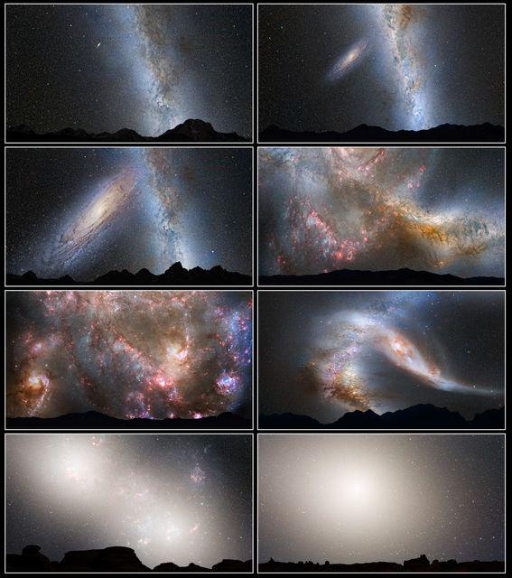 Tejútrendszer és Androméda-galaxis az éjszakai égbolton (tejútrendszer, androméda, androméda-galaxis, éjszaka, égbolt, )