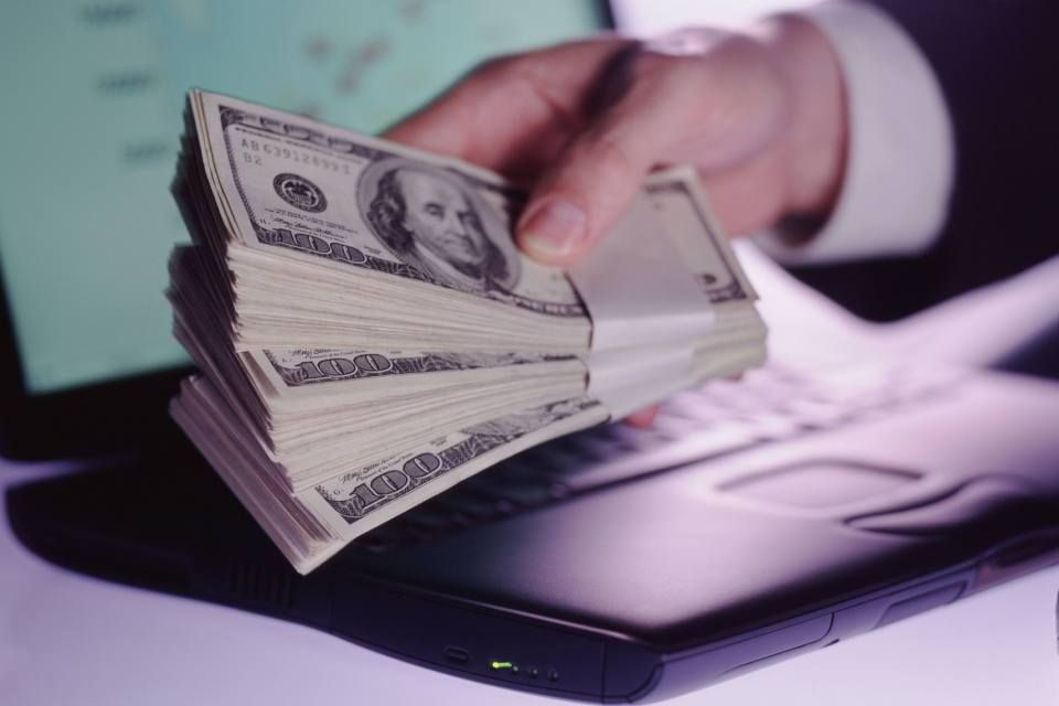 dollár-laptop (dollár, pénz, laptop, )