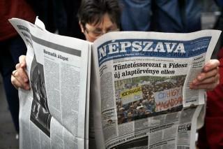 népszava (népszava, újság, tüntetés, hír)