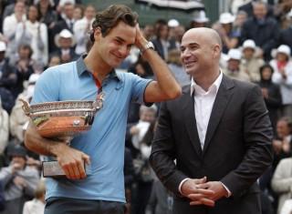 Federer és Agassi (roger federer, andre agassi, )