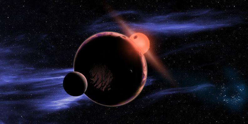Vörös törpe bolygóval (vörös törpe, bolygó, csillag, exobolygó, )