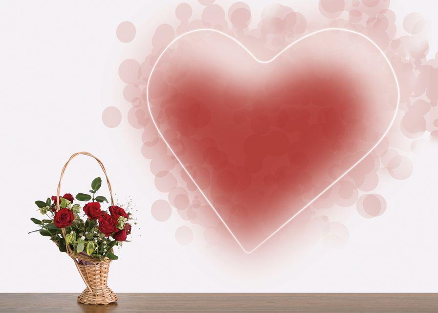 szív (szív, virágcsokor, szeretet, illusztráció)