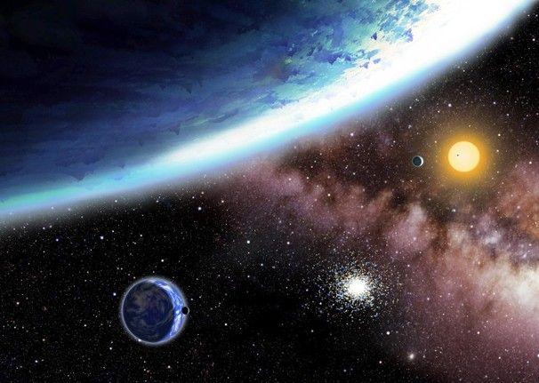Kepler-62e és -62f illusztrációja (kepler-62, kepler-62e, kepler-62f, bolygó, csillagrendszer, )