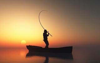 Halász (halász, csónak, tenger, )