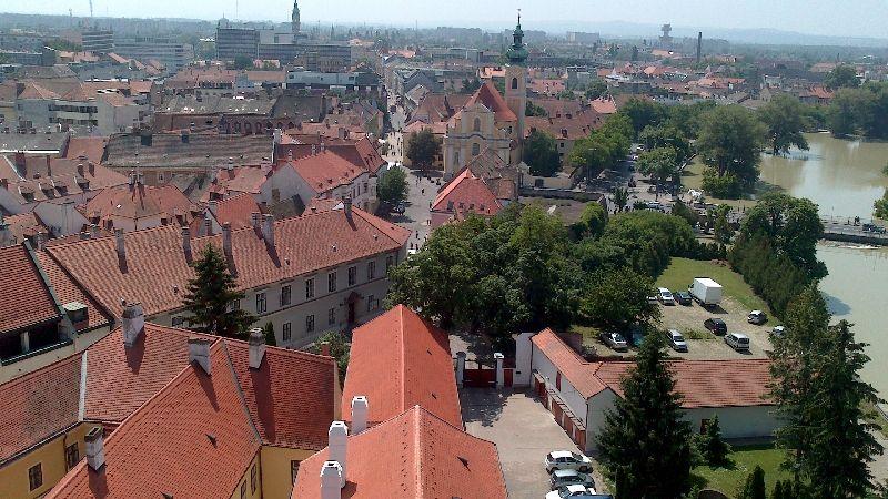 Győr belváros szombaton, madártávlatból (Győr, árvíz, légi felvétel, )