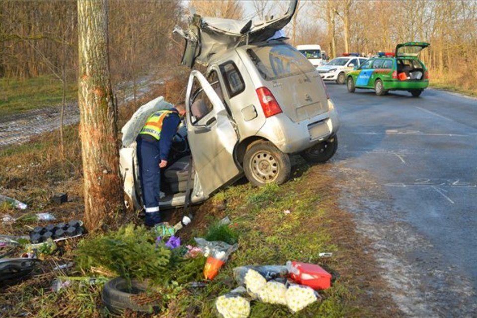 baleset fának csapódott autó (baleset)