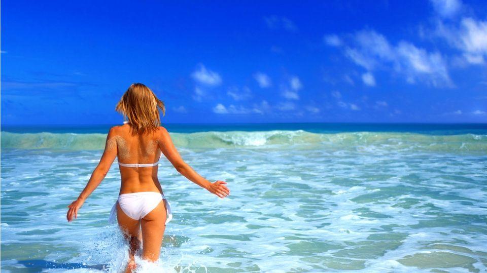 nyár (tenger, strandoló, )