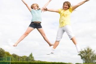 trambulin, gyerekek, vidámság (trambulin, )
