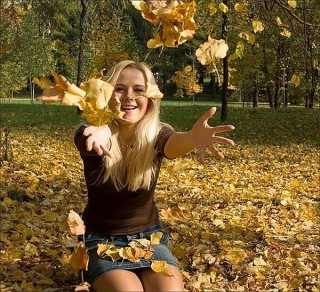 Ősz napsütés lánnyal (ősz, napsütés, lány, )