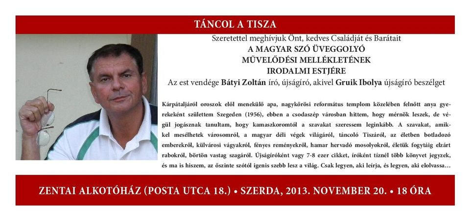 Bátyi Zoltán irodalmi estje Zentán (Bátyi Zoltán irodalmi estje Zentán)