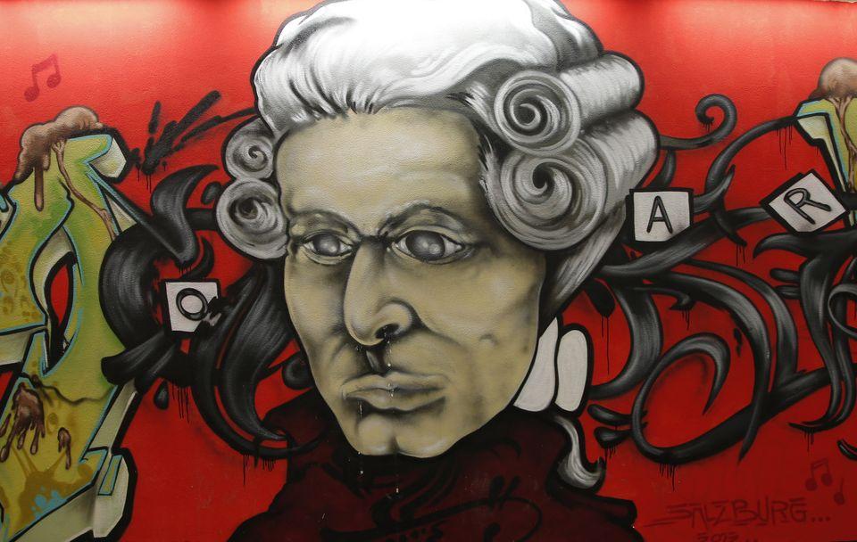 Mozart streetart (mozart, graffiti, salzburag)