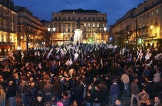 rendőrtüntetés portugáliában  (rendőrtüntetés, tüntetés)