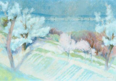 Kórusz József Tavasz a Dunánál (festő, galéria, zebegény, kórusz józsef)