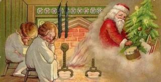Mikulás a fánál (Mikulás, karácsony, képeslap)