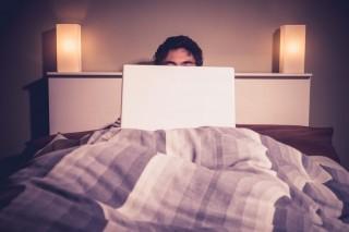 ágyban laptop (laptop, ágy, )