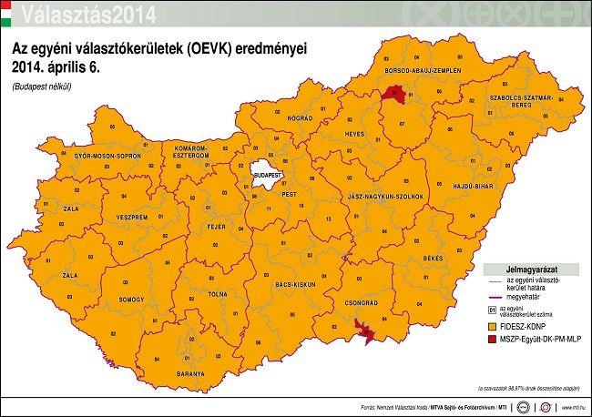 egyéni választókerületek eredményei (egyéni választókerület, választás 2014)