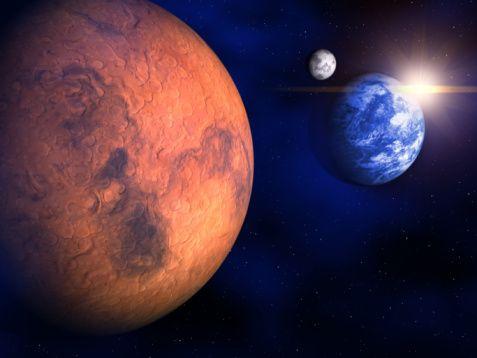 mars (mars, föld, űr, bolygók, )