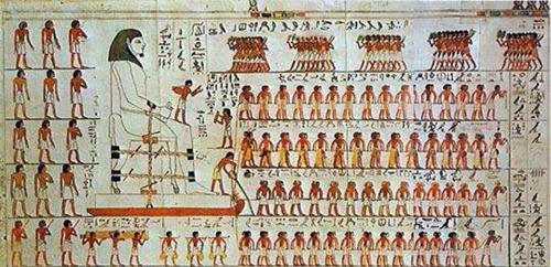Szobormozgatás (egyiptom, falfestmény, )