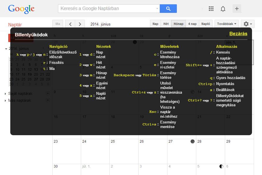 Google Calendar billentyűkombinációk (Google Calendar, billentyűkombinációk, )