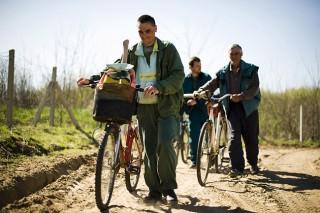 Napkor, 2011. április 20.Herceg Róbert (b), Demeter Béla (k) és Sárga János (j), a Napkori Erdőgazdák Zrt. erdőiben dolgozó közmunkások indulnak haza a munkából kerékpárjaikkal a Szabolcs-Szatmár-Bereg megyei Napkor határában, 2011. április 20-án. Közmunkaprogram indult a magánerdőkben, a Nemzetgazdasági Minisztérium 710 millió forintos támogatásával mintegy 800 állástalan ember jutott munkalehetőséghez.MTI Fotó: Balázs Attila