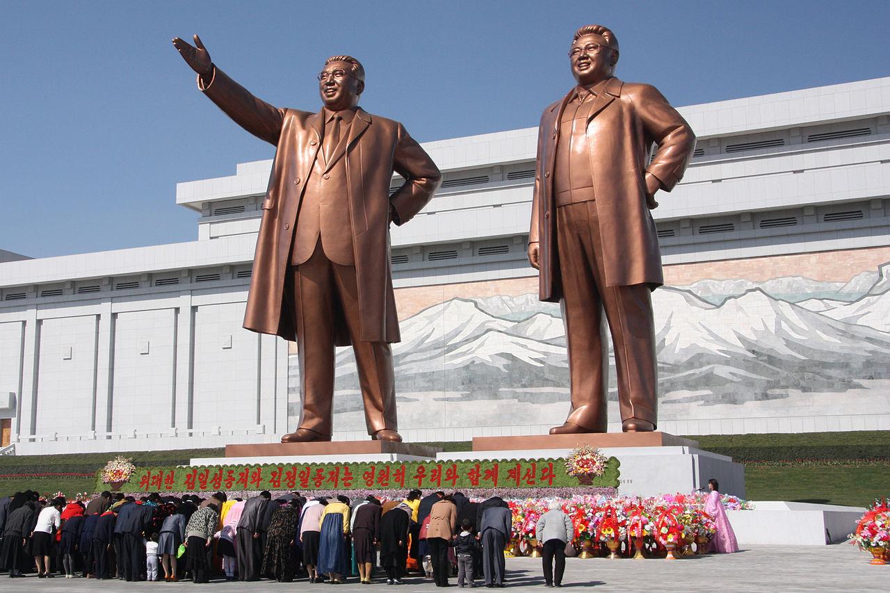 Észak Korea (kim ir szen, kim jong-il, szobor, phenjan)