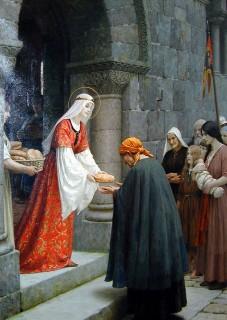 Szent Erzsébet kenyeret oszt (szent erzsébet, )