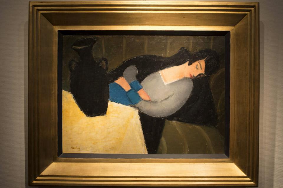 alvó nő fekete vázával (alvó nő fekete vázával, Berény Róbert)