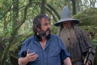 A hobbit Peter Jackson és Ian McKellen (peter jackson, ian mckellen, a hobbit, gandalf, )