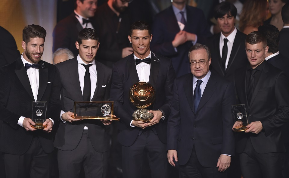Florentino Pérez (florentino pérez, Sergio Ramos, James Rodriguez, Cristiano Ronaldo, Toni Kroos)