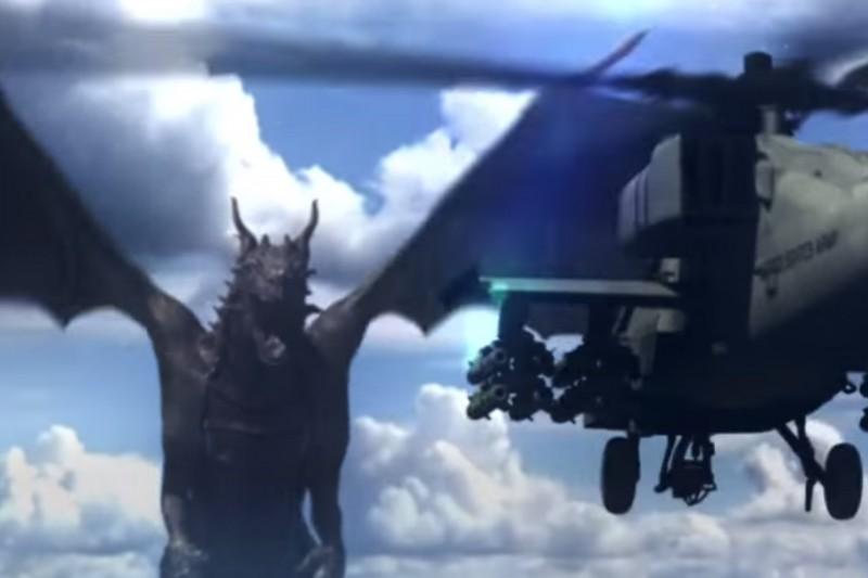 Sárkány kontra harci helikopter (sárkány, helikopter, )
