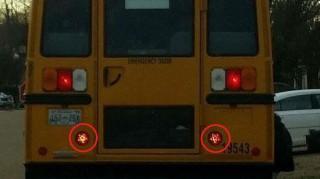 sátánista iskolabusz (iskolabusz, pentagram, )