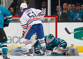Antti Niemi, Anton Lander (Antti Niemi, San Jose Sharks, Anton Lander, Edmonton Oilers)