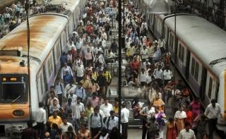 Mumbai vasút (mumbai, india, vasútállomás, )