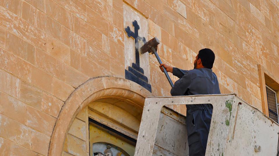 Iszlám Állam templomot rombol (Iszlám Állam, ISIS)