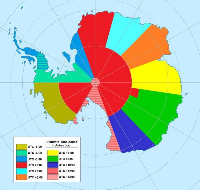 Maps - Antarktiszi időzónák (antarktisz, időzónák, )