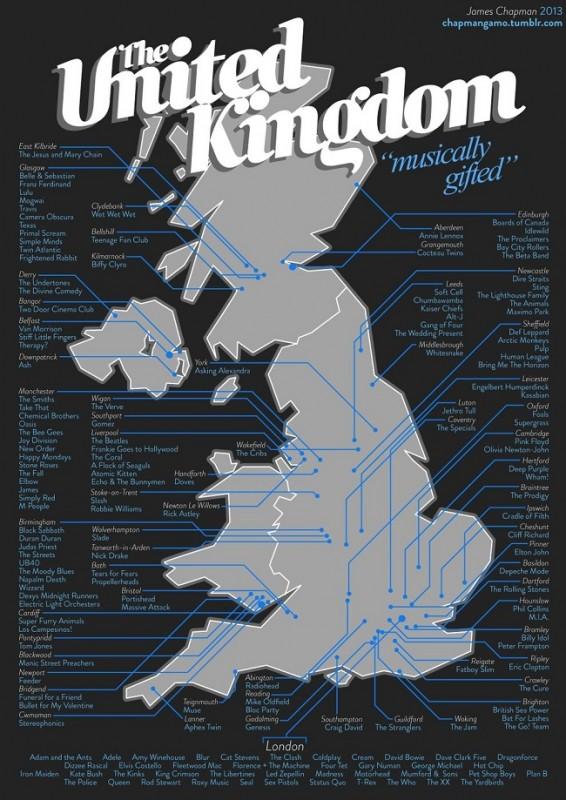 Maps - Brit zenészek (zenészek, térkép, )