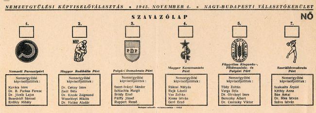 Szavazólap (1945) (szavazólap, )