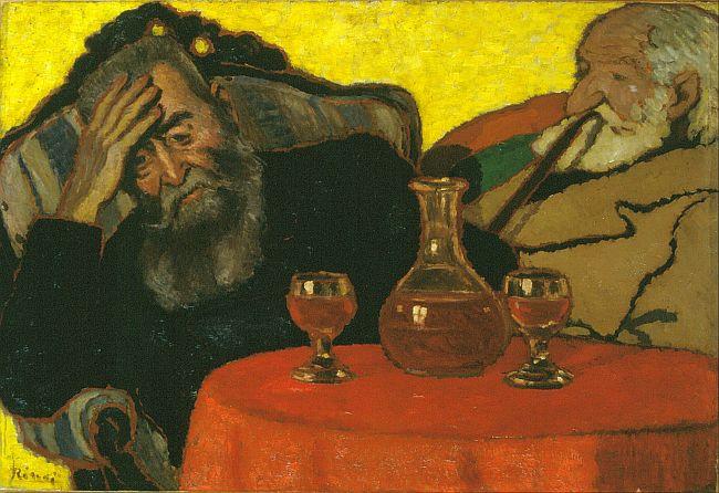 Rippl-Rónai: Apám és Piacsek vörösborral (Array)