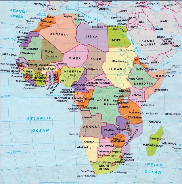 Afrika Terkep Orszagokkal Marlpoint