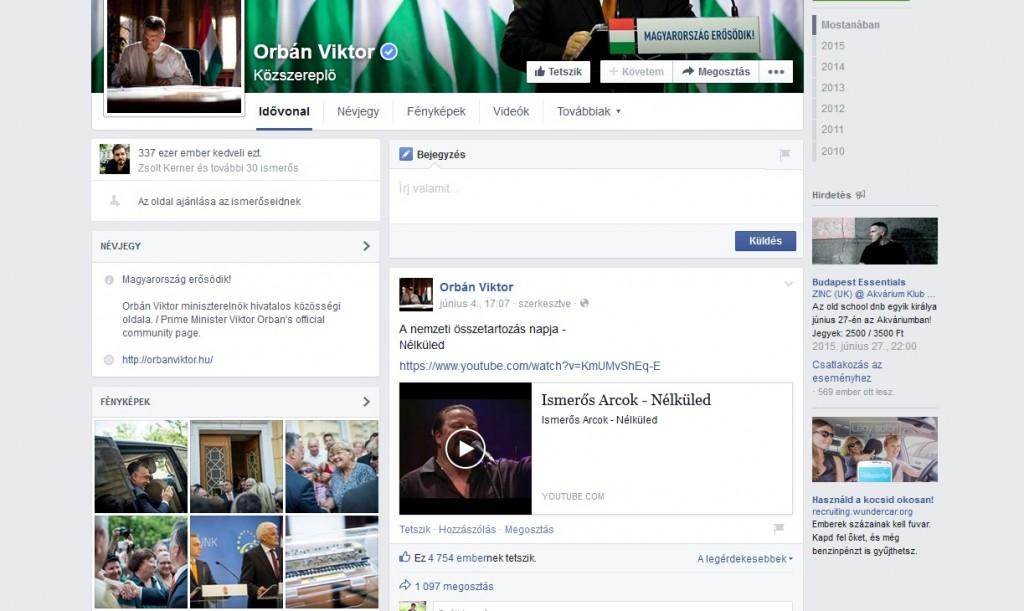 Orbán három hete néma a Facebookon | 24.hu