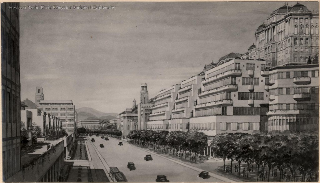 Fantáziarajz, távlati kép. Teraszos szalagházak a Vár alatt. Eredetileg megjelent a Budapest mûvészi újjáépítése Vágó József elgondolása szerint címû könyvben. (Bp. 1936. 33. t.)