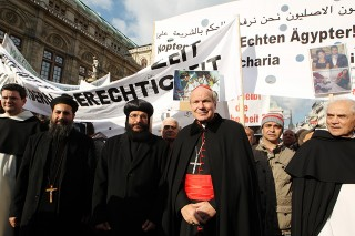 Austrian Coptic Bishop Gabriel (3rd L) and Austrian Cardinal Christoph Schoenborn (4th L) lead some 1500 believers during a demonstration and march denouncing recent violence against Coptic Christians in Egypt, on October 21, 2011, in Vienna. Coptic demonstrators in Egypt had taken to the streets on October 9 to denounce an earlier attack on a church in the southern city of Aswan, before the protest degenerated into violence, leaving 25 people dead, mostly Coptic Christians. AFP PHOTO/DIETER NAGL